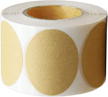 Hcode 2�� Natural Circle Kraft Paper Dots Labels Round Brown Adhesive Stickers 2