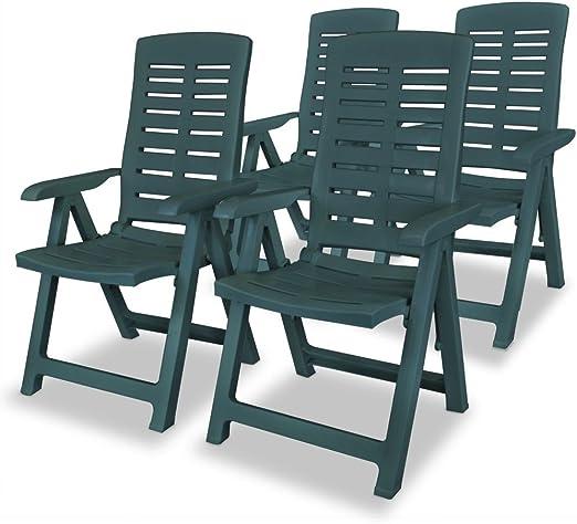honglianghongshang Muebles de jardín Asientos de Exterior Sillas de jardínSillas de jardín reclinables 4 Unidades plástico Verde: Amazon.es: Hogar