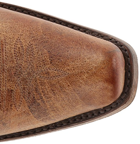Stetson Hombres Cracked Inlay Snip Toe Riding Bota Marrón