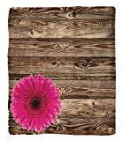 Chaoran 1 Fleece Blanket on Amazon Super Silky Soft All Season Super Plush Rustic Home Decor et Pink Daisy Blossom on Vintage Wood Wall Picture Gerbera Flower Farm Countrytyle Accessories Collection F