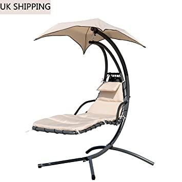 Wondrous Sun Lounger Hanging Chaise Hammock Swing Chair With Arc Home Remodeling Inspirations Propsscottssportslandcom