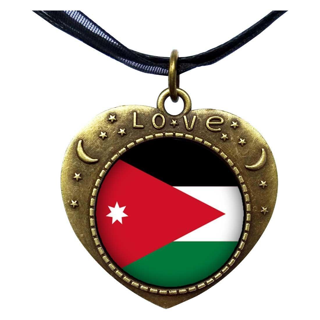 GiftJewelryShop Bronze Retro Style Jordan flag Heart Lover Moom Star Pendant Charm Necklaces
