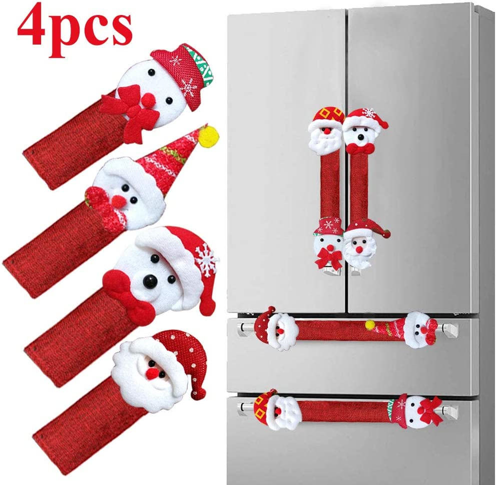 Worth flagship store Refrigerator Door Handle Covers Set of 4, Santa Snowman Kitchen Appliance Covers Fridge Microwave Oven Dishwasher Door Handle Protector Christmas Decorations