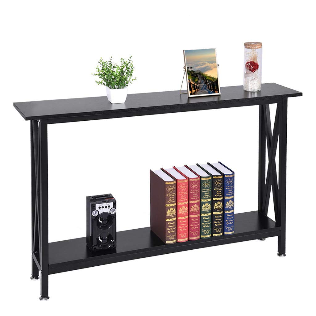 Dowager Computer Desk with Storage Shelves, 47 inch Large Modern Office Desk Computer Table Studying Writing Desk Workstation for Home Office Indoor by Dowager_Home Storage