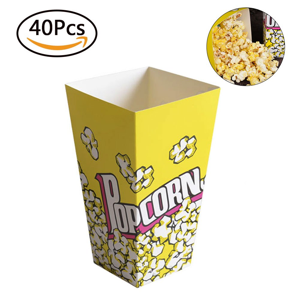 Popcorn Boxes Pack of 40 PCS Set Yellow Cardboard Candy Container Perfect for Movie Nights Carnivals Birthday Party Supplies