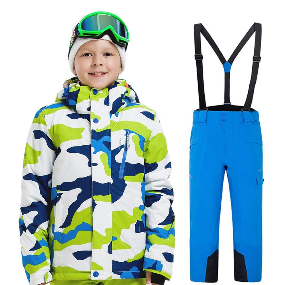 Boys Ski Jacket Pants Hooded Waterproof Winter Insulated Snowboard Snow Suits