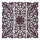Deco 79 Wooden Wall Plaque, Brown, Set of 3