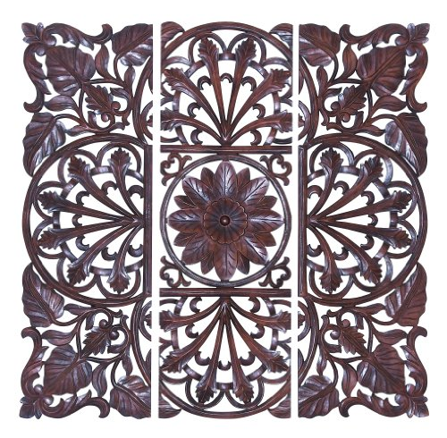 Deco 79 Wooden Wall Plaque, Brown, Set of 3 by Deco 79