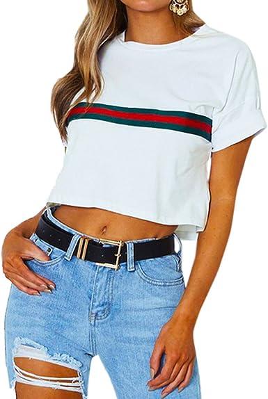 Mujeres Crop Top Cuello Redondo Manga Corta tee Camisa Moda Rayas Costura Camisetas Blusa T-Shirts, Verano Nuevo: Amazon.es: Ropa y accesorios