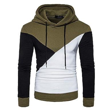 Covermason Sweat à Capuche Outwear pour Hommes Sports Sweatshirt Hoodies à  Patchwork Pull Sweat Mode Personnalité b946db1ed9f