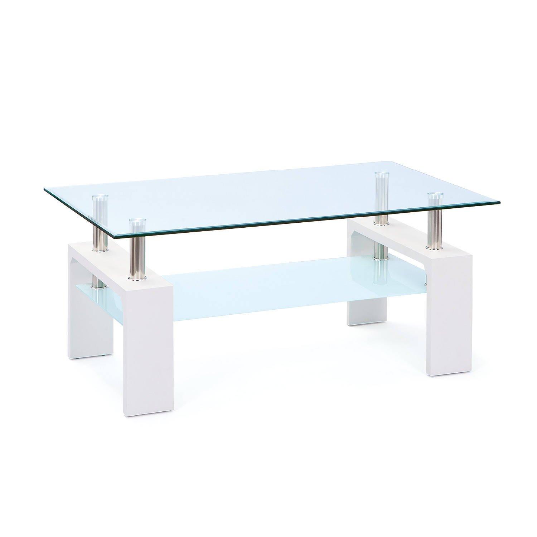 Links 50100040 Couchtisch Glas Weiss Wohnzimmertisch Wohnzimmer Tisch Beistelltisch 110x60 Cm Amazonde Kche Haushalt
