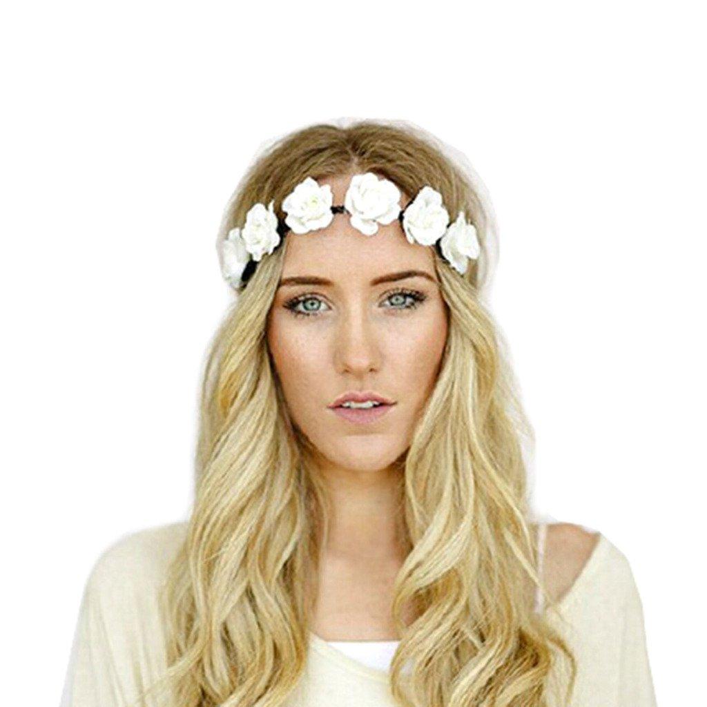 Chic Blanc Couronne de Fleurs Guirlande Front Bandeau Bande de Cheveux Femme Fête Bal Mariage Serre-tête DDU(TM)