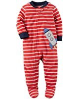 Carter's Boys1 Piece Striped Rocket Ship Applique Zip Up Footed Pajama Red/Grey 18M