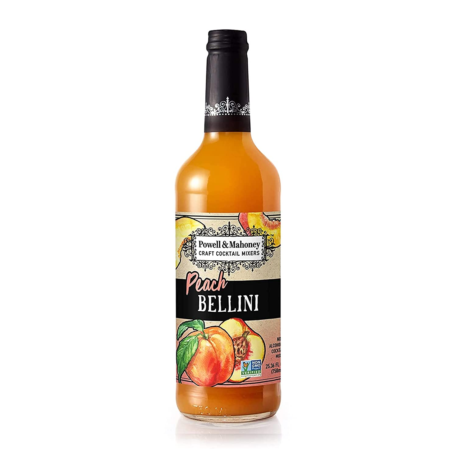 Powell & Mahoney Craft Cocktail Mixers - Peach Bellini - NA Cocktail Mix - Free from Artificial Sweeteners and Flavors - 25.36 oz - Non-GMO…