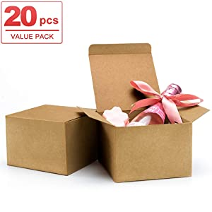 ValBox 20pcs Brown Gift Boxes 5 x 5 x 3.5 Recycled Paper Gift Boxes with Lids for Gifts, Cupcake Boxes, Easy Assemble Boxes with Reinforced Cardboard