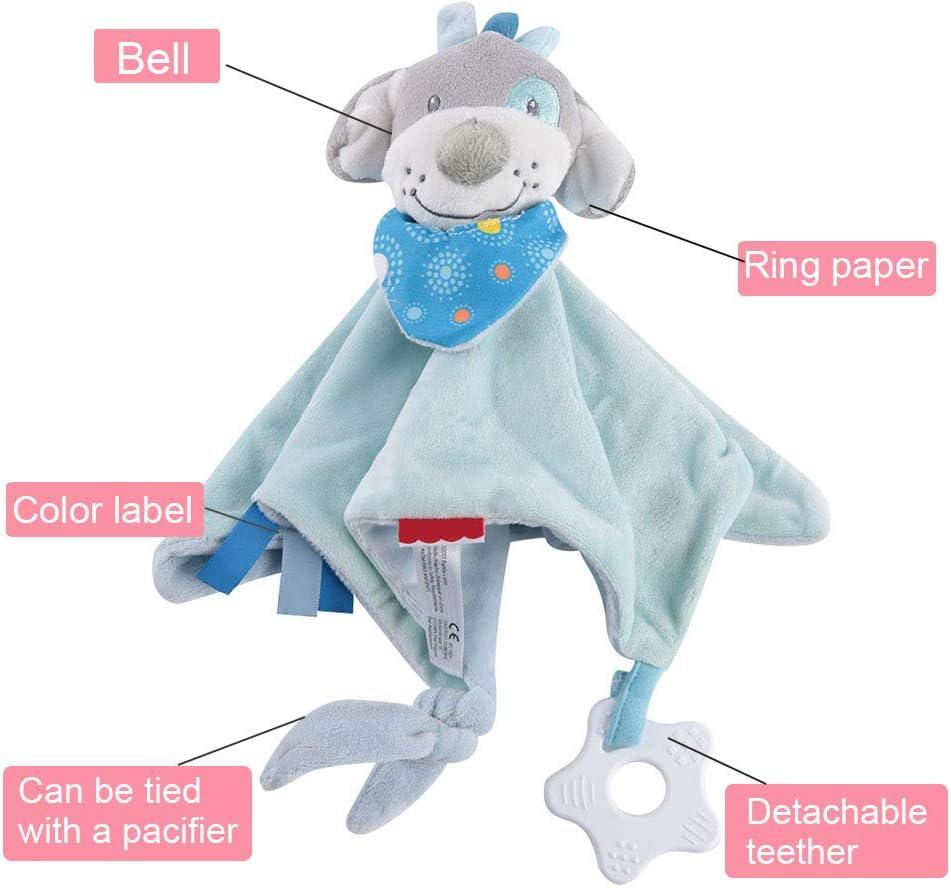 Dog Doudous Jouet B/éb/é Apaiser Serviette Calmant Couverture de Sommeil Peluches Doudou Poup/ée pour Cadeau de B/éb/é Nouveau-n/é Fille et Gar/çon 0-36 Mois