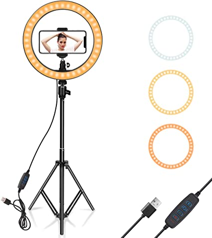 Amazon Com Ring Light 10 With Tripod Stand Phone Holder For Youtube Video Desktop Camera Led Ring Light For Streaming Makeup Selfie Photography Compatible With Iphone Android