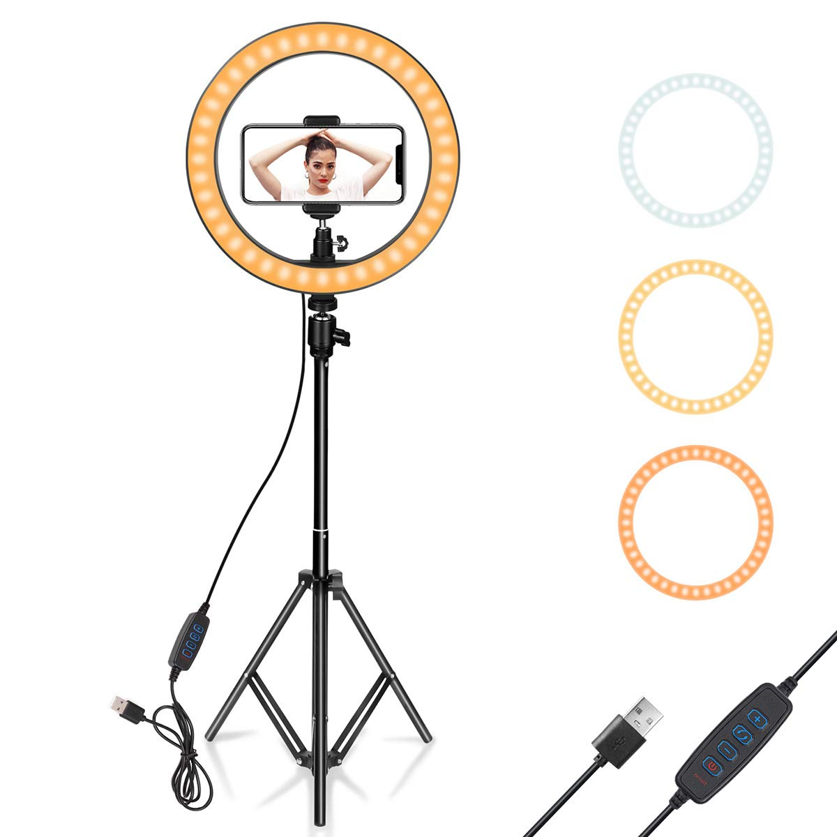 """Ring Light 10"""" with Tripod Stand & Phone Holder for YouTube Video, Desktop Camera Led Ring Light for Streaming, Makeup, Selfie Photography Compatible with iPhone Android"""