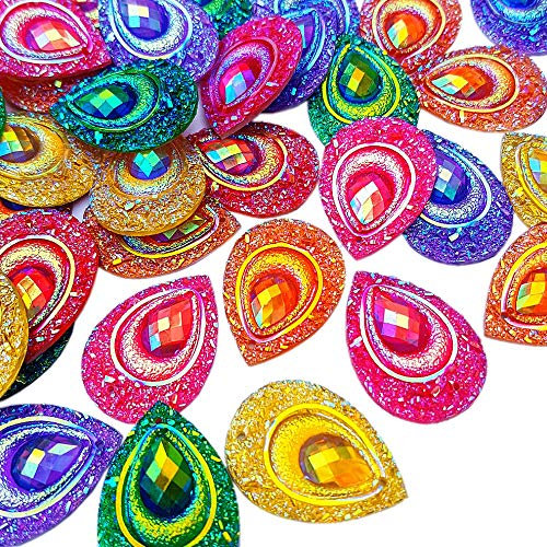 Flapper Button - Sparkly Buttons Drop AB Color Sew On Crafts Rhinestones Flatback Beads Sewing For Costume Wedding Dress Decorations 18x25mm 50pcs (Mixed Color)