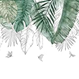 Fangeplus R DIY Removable Tropical Banana Leaf Greenery Monstera Leaf Art Mural Vinyl Waterproof Wall Stickers Kids Room Decor Nursery Decal Sticker Wallpaper 5.9''x47.2''