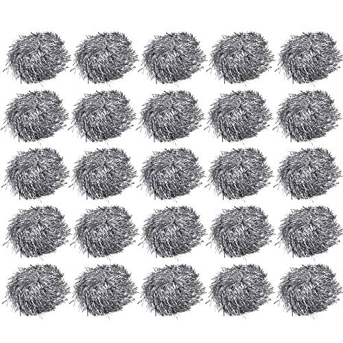 (Qpower 24PCS Cheerleading Poms Squad Spirited Fun Cheering Metallic Foil Plastic Pom with Baton Handle for Dance Party Football Club Decoration Silver )