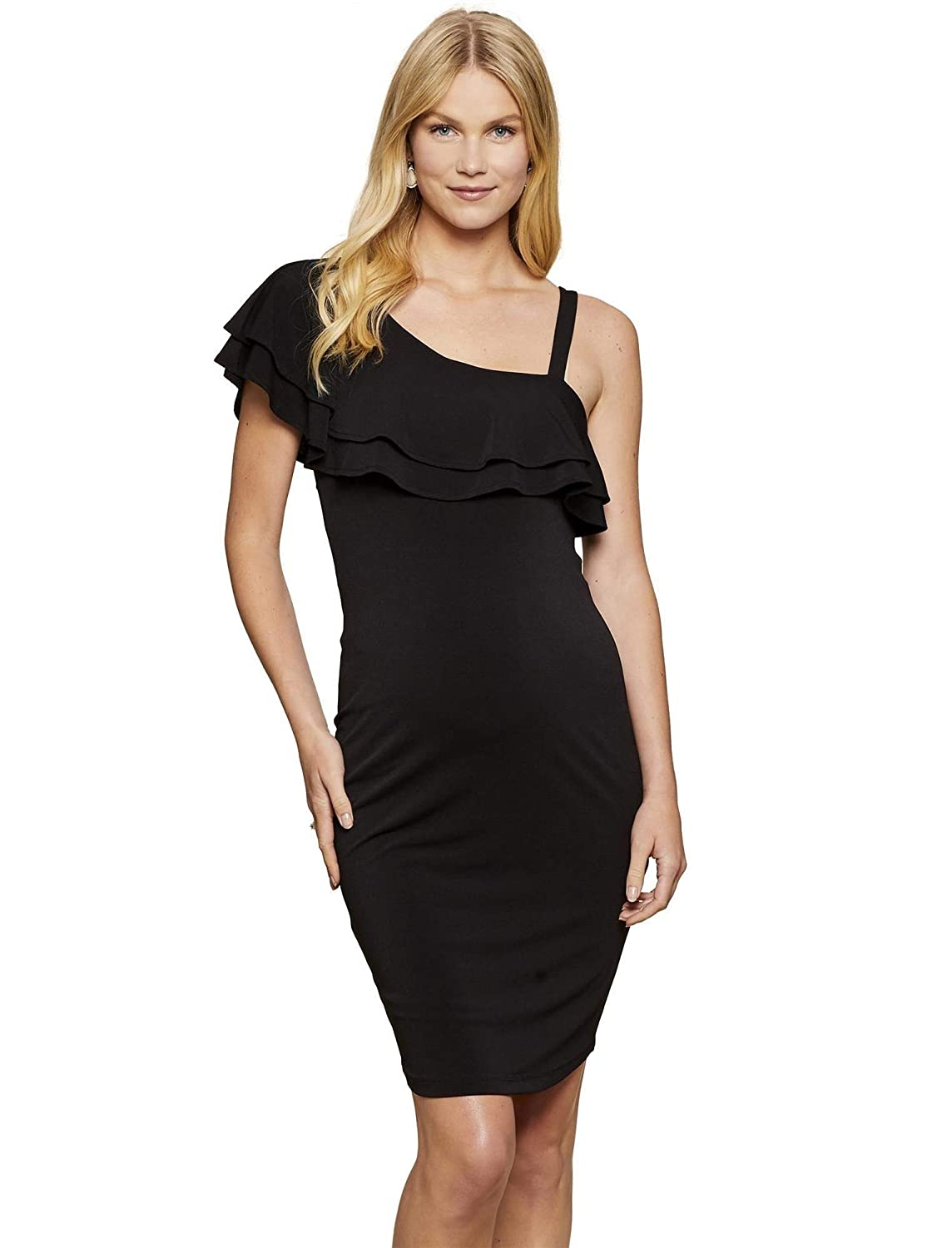 2bf8a40240a Jessica Simpson Ruffle Front Maternity Dress Black at Amazon Women s  Clothing store