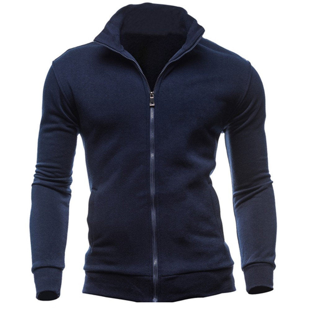 Sweatshirts For Men,Clearance Sale-Farjing Mens' Autumn Winter Leisure Sports Cardigan Zipper Sweatshirts Tops Jacket Coat (L,Navy )