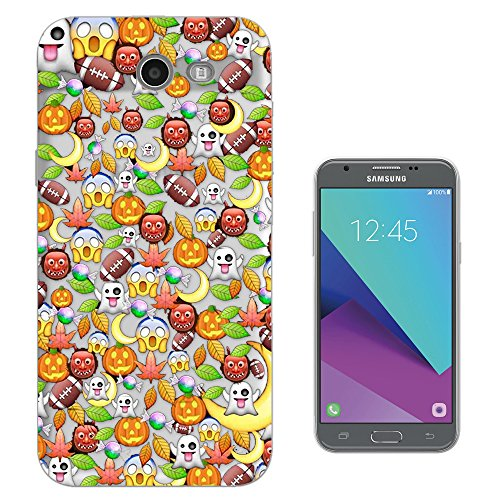 c01064 - Cool Fun Scary Halloween Emoji Pumpkin Monster Collage Design Samsung Galaxy J7 (2017) Fashion Trend CASE Gel Rubber Silicone All Edges Protection Case (2017 Trends For Halloween)