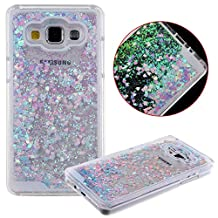 Galaxy Grand Prime Case,Creative Design Dynamic Flowing Liquid Floating Bling Sparkle Glitter Sparkle Star Love Heart Transparent Plastic Case for Samsung Galaxy Grand Prime G530 (Blue/Pink)