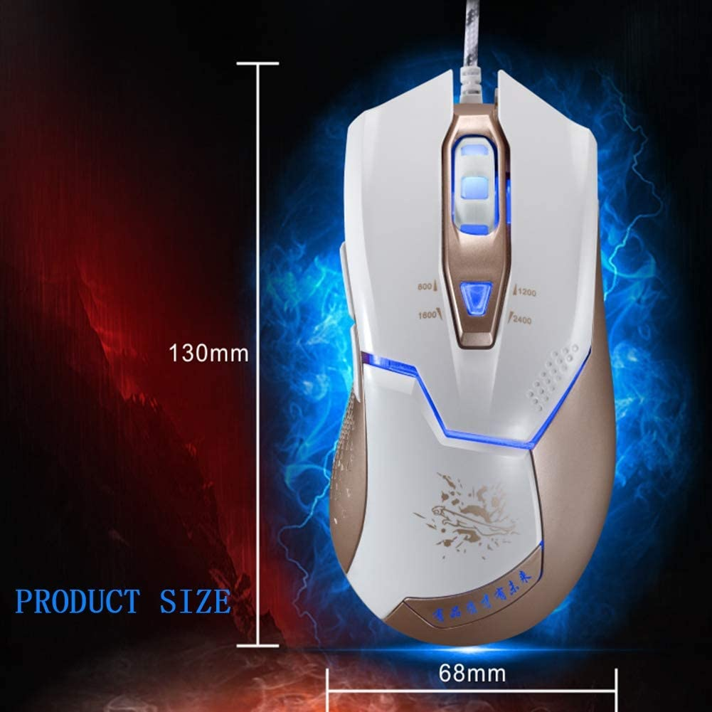 Wired Computer Mouse Adjustable DPI Ergonomic Design Variable Breathing Light Waterproof and Comfortable and Durable for Laptop PC6 Key,Black XPFF Gaming Mouse