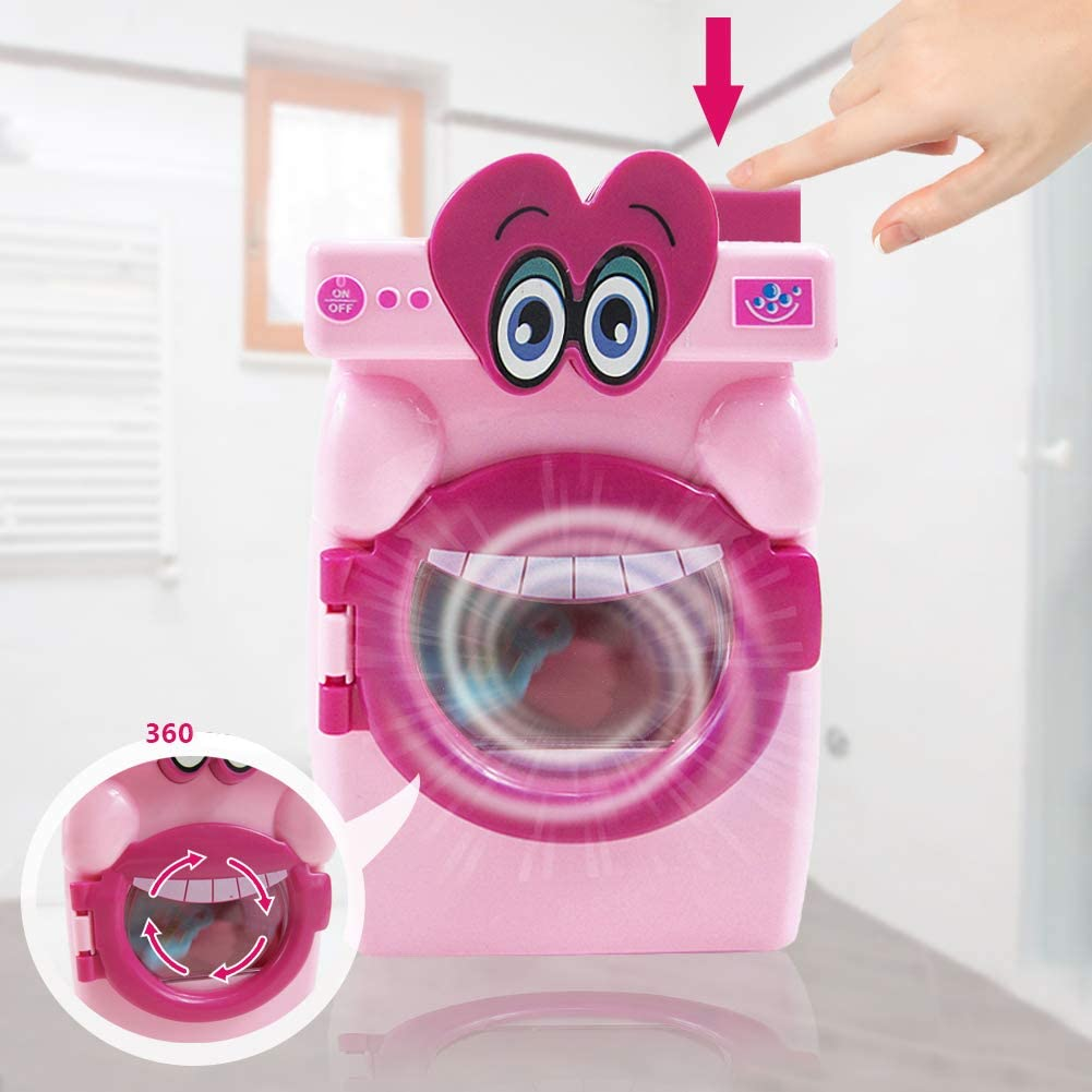 discountstore145 Pre-Kindergarten Toys Pretend Play Simulation Automatic Washing Machine Mini Home Appliance Kids Toy Development Toy Educational Toy for Kids Pink