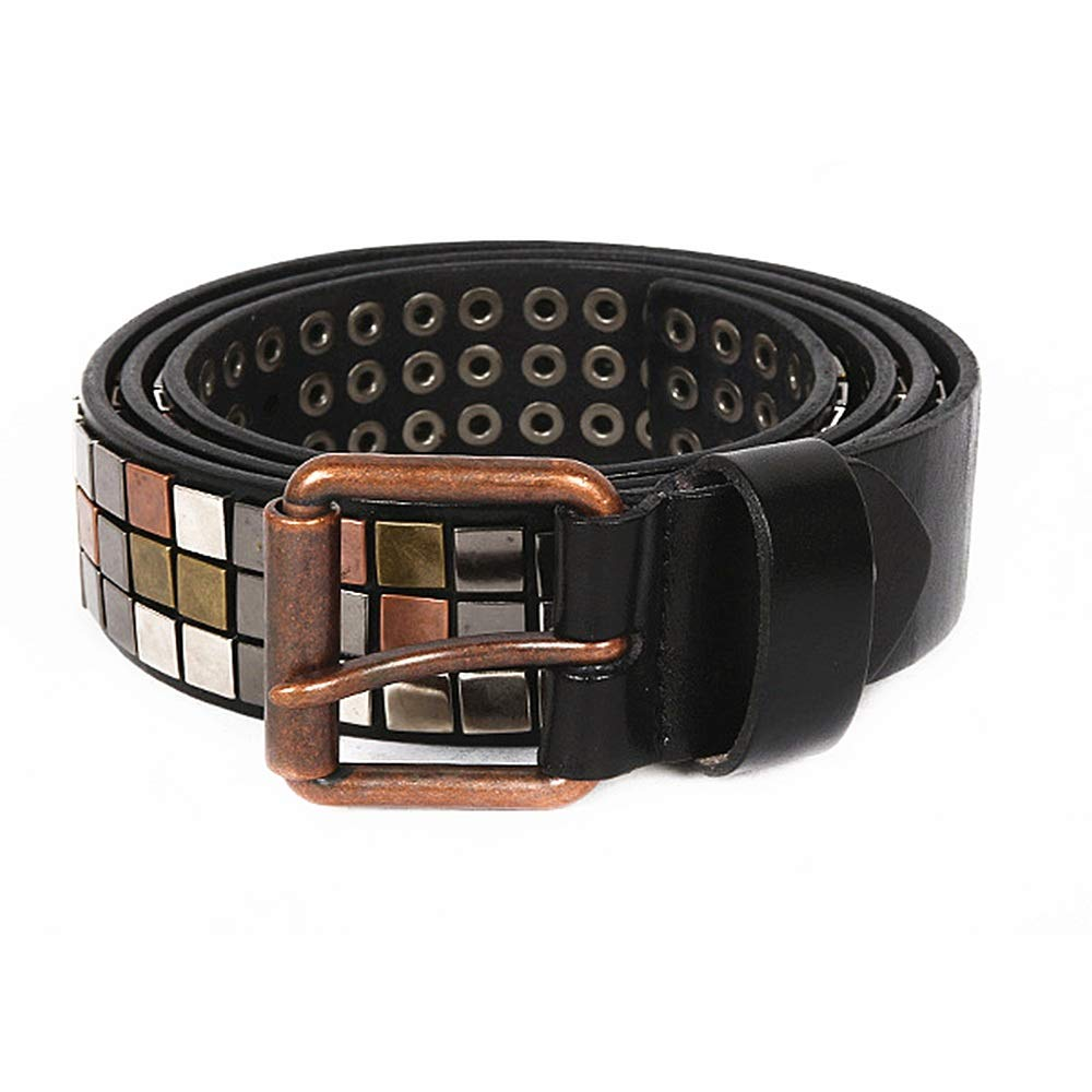 Black Studded Belt Leather, Mosaic Style Vintage Leather Belts Copper color Rivet Handmade Steampunk for Men Women for Men's Women's Gifts (color   Red, Size   120cm)