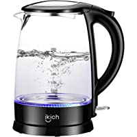 iKich Glass Electric Kettle, 1.7L Eco Water Kettle with Illuminated LED, BPA Free Cordless Water Boiler with Stainless Steel Inner Lid & Bottom, Auto-Off & Boil-Dry Protection, 1500W, Black