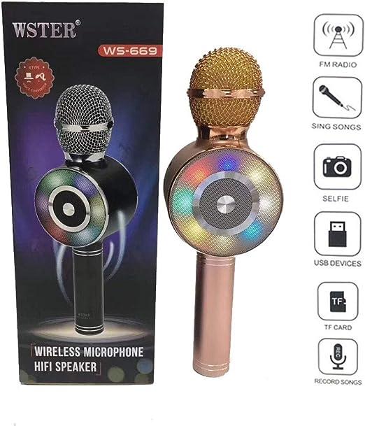 Lvreby Micrófono Colorido Luces LED teléfono móvil Karaoke micrófono inalámbrico Bluetooth Recording Studio Conferencia Mic,Rosegold: Amazon.es: Hogar