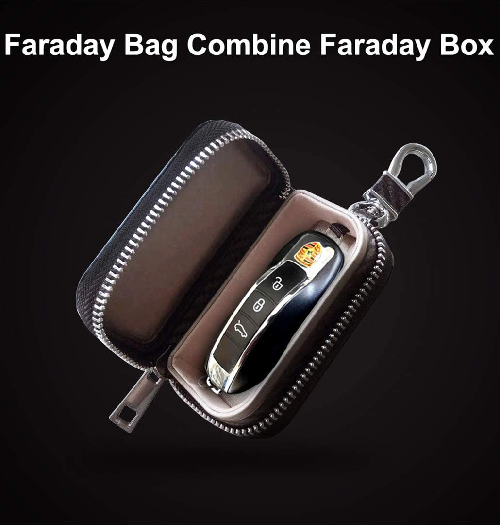 Keys and Car Key Fob Faraday Blocking Organizer Bag with Die-Casting Aluminium Strong Hook and Zipper Vehicle Fob FRID Blocker Luxury Black PU Leather Holder Box