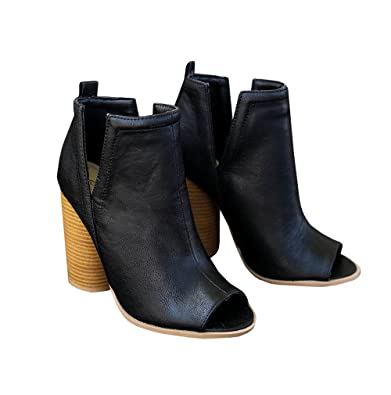 Women's Sild Cut Out Chunky Mid Heel Peep Toe Ankle Booties