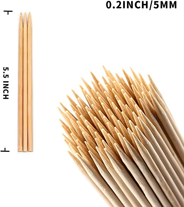 5.5 inch 100Pcs Thick Natural Bamboo Sticks (0.2 Inch/5mm Diameter) for BBQ, Marshmallows, Appetiser, Fruit Kabob,Cocktail,Shish Kabob, Chocolate Fountain,Grilling,Barbecue,Kitchen,Crafting and Party