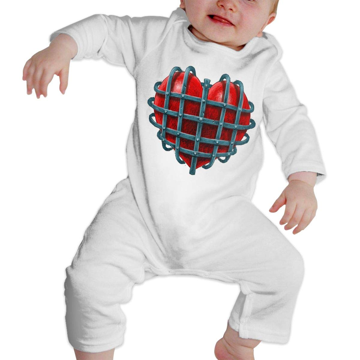 Baby O-Neck Long Sleeve Pure Color Romper Imprisoned Heart Crawling Clothes