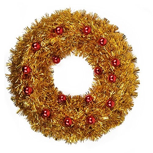 Oxfox Christmas Tinsel Wreath Garland Decoration Door Wall Hanging Party Accessory Wedding Holiday (Tinsel Christmas Wreath)
