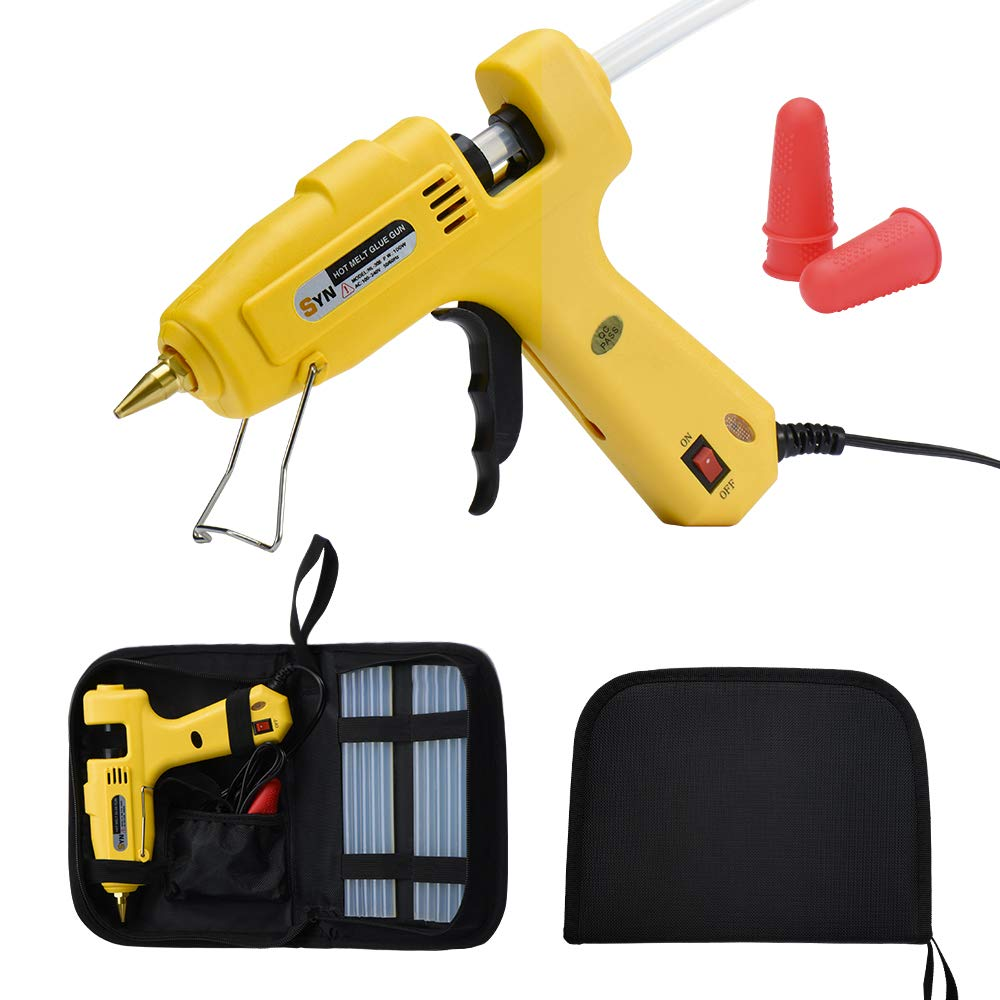 Hot Melt Glue Gun Kit 100 Watt with Carry Bag 3PCS Finger Caps and 12 PCS Glue Sticks for DIY Arts & Crafts Projects, Sealing and Quick Repairs, Light and Heavy Duty in Home and Office