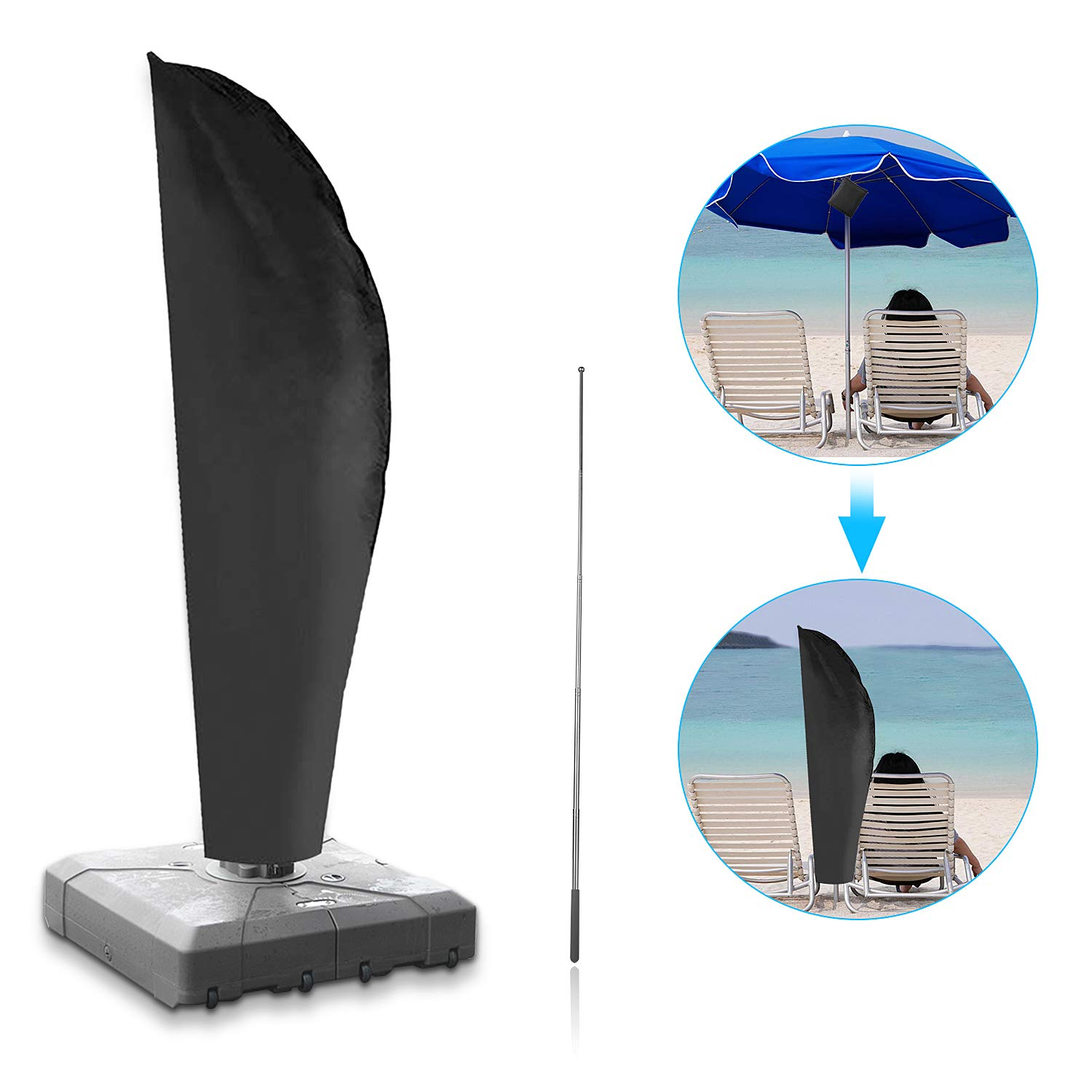 Mixhomic Parasol Cover Large Cantilever,Umbrella Cover Waterproof UV-Resistant 210D,Sun Umbrella Cover,Umbrella Covers for Outdoor Umbrellas-Strong and Durable by Mixhomic