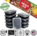 """Meals-to-Go Lunch Box Containers with Lids - BPA Free Plastic - Stackable, Reusable, Microwave Safe - Bento Lunch Box Sets - 10 Pack (38 ounce container with lid (6"""" x 8.5"""" x 2"""")"""