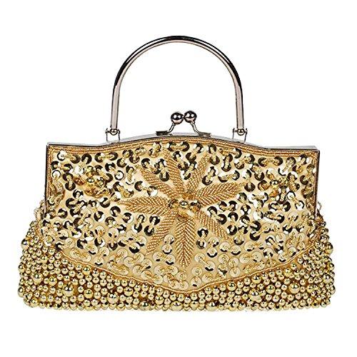 EPLAZA Party Women Satin Sequin C Handbags Bags Evening Purse Beaded Retro Flora Clutch ATxqzrA