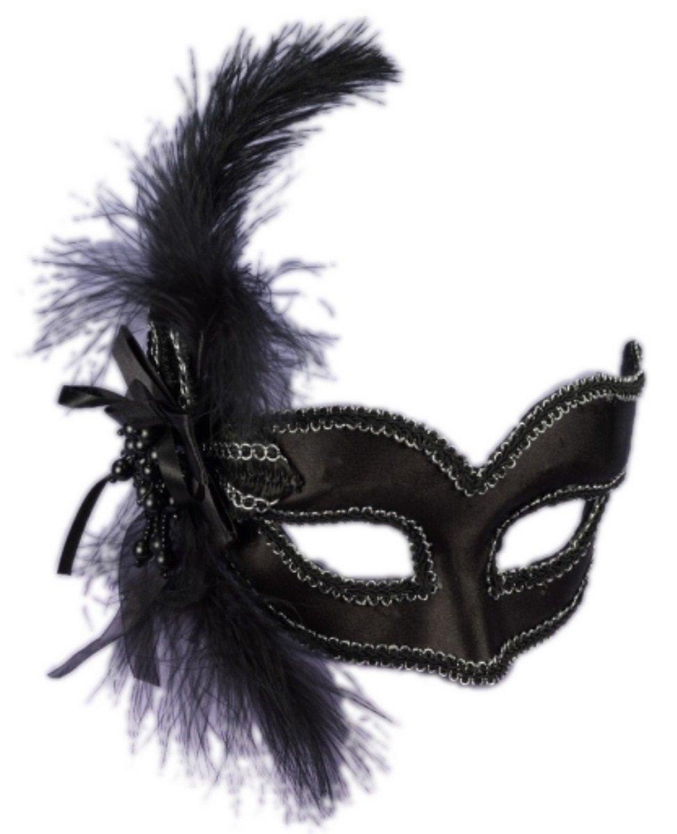 Adult Venetian Black Satin Feathered Half Mask on Glasses