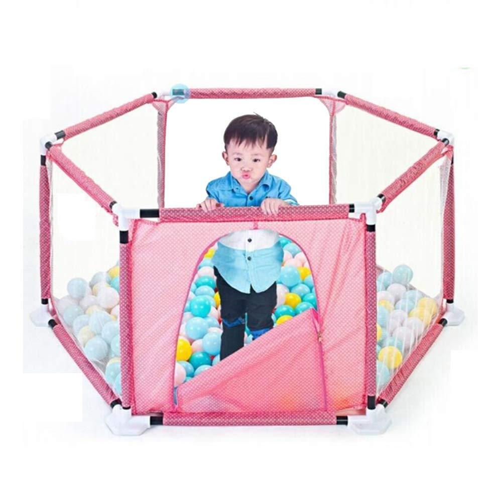 NAN liang キッズ6パネルPlayard赤ちゃんのためのPlaypenポータブル通気性メッシュ幼児、屋内および屋外プレイ (色 : Pink)  Pink B07L9LG1W7