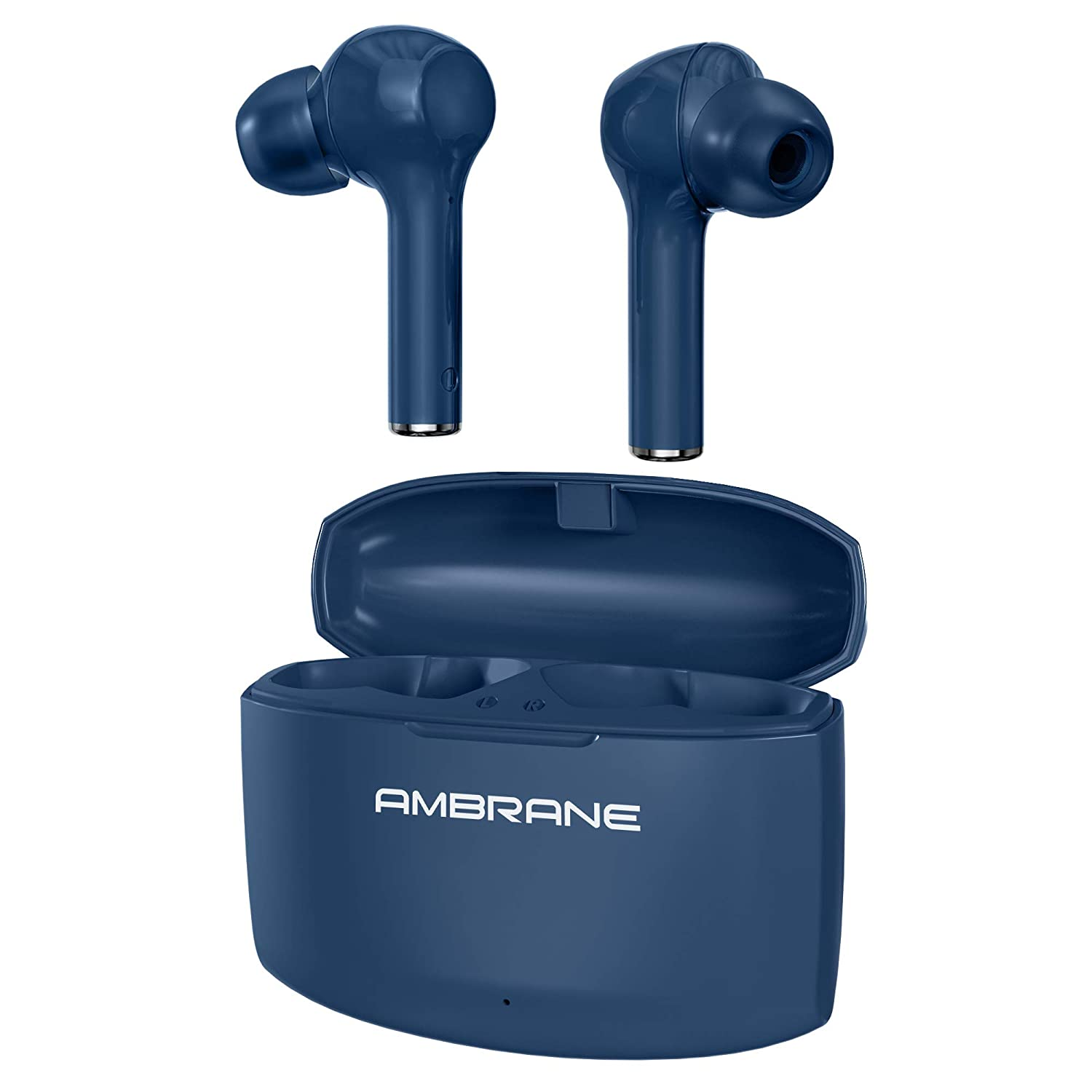 Ambrane NeoBuds 33 True Wireless Earbuds with 15 Hours Total Playtime, High Bass Immersive Sound, Touch Controls, IPX4 Waterproof, Voice Assistance & inbuilt Mic (Indigo Blue), Normal