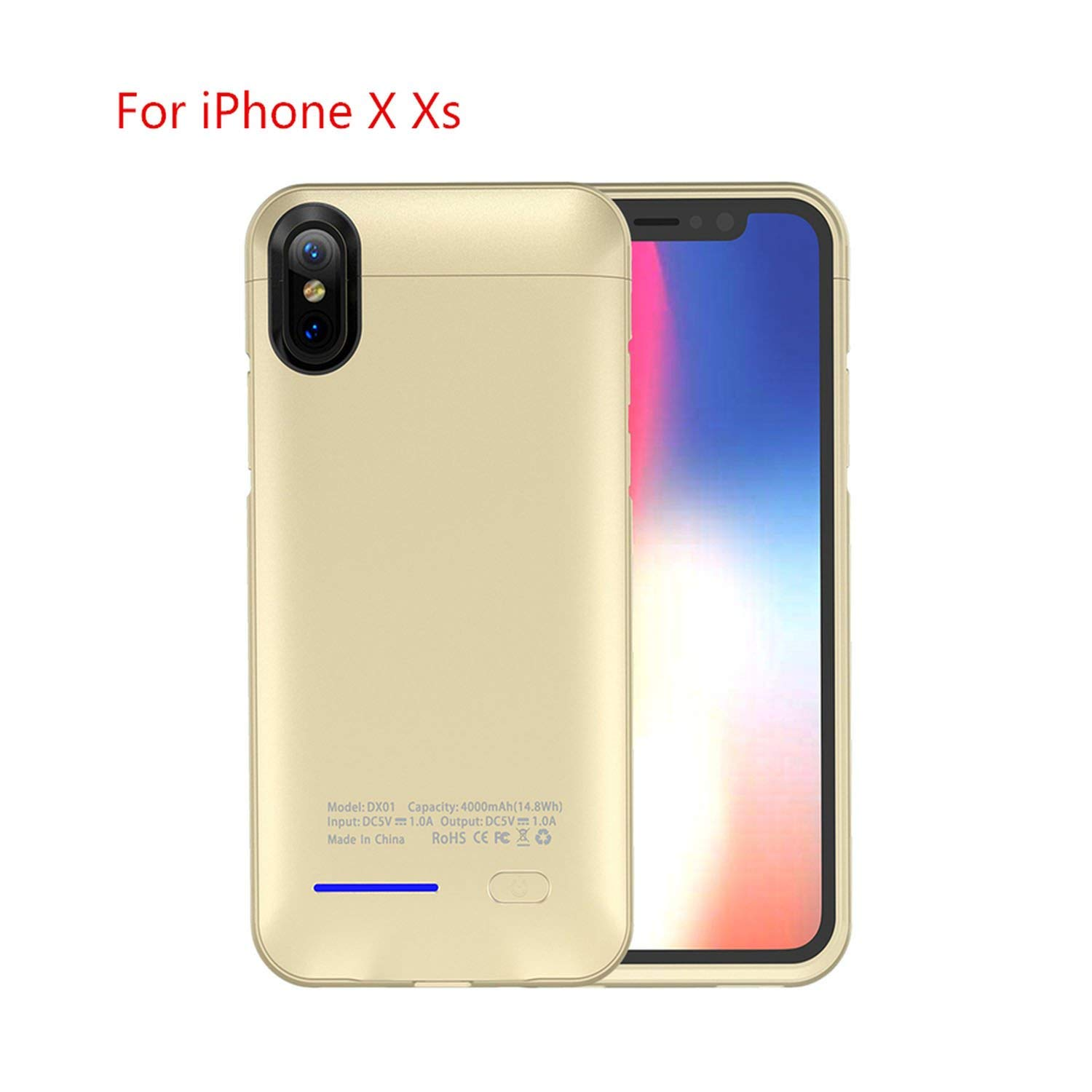 Amazon.com: Para iPhone X Xr Xs Max Case Power Bank 4000Mah ...