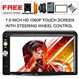 VEHPLUS Upgraded 7 inch Double Din Touch Screen Car Stereo Headunit Free Rear Camera Steering Wheel Control Car Tuning Tools Remote Control Support Mirror Link Audio Receiver MP5 Player