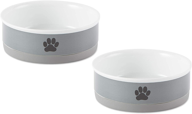 Bone Dry Ceramic Pet Collection, Medium Bowl Set, Gray Paw 2 Count