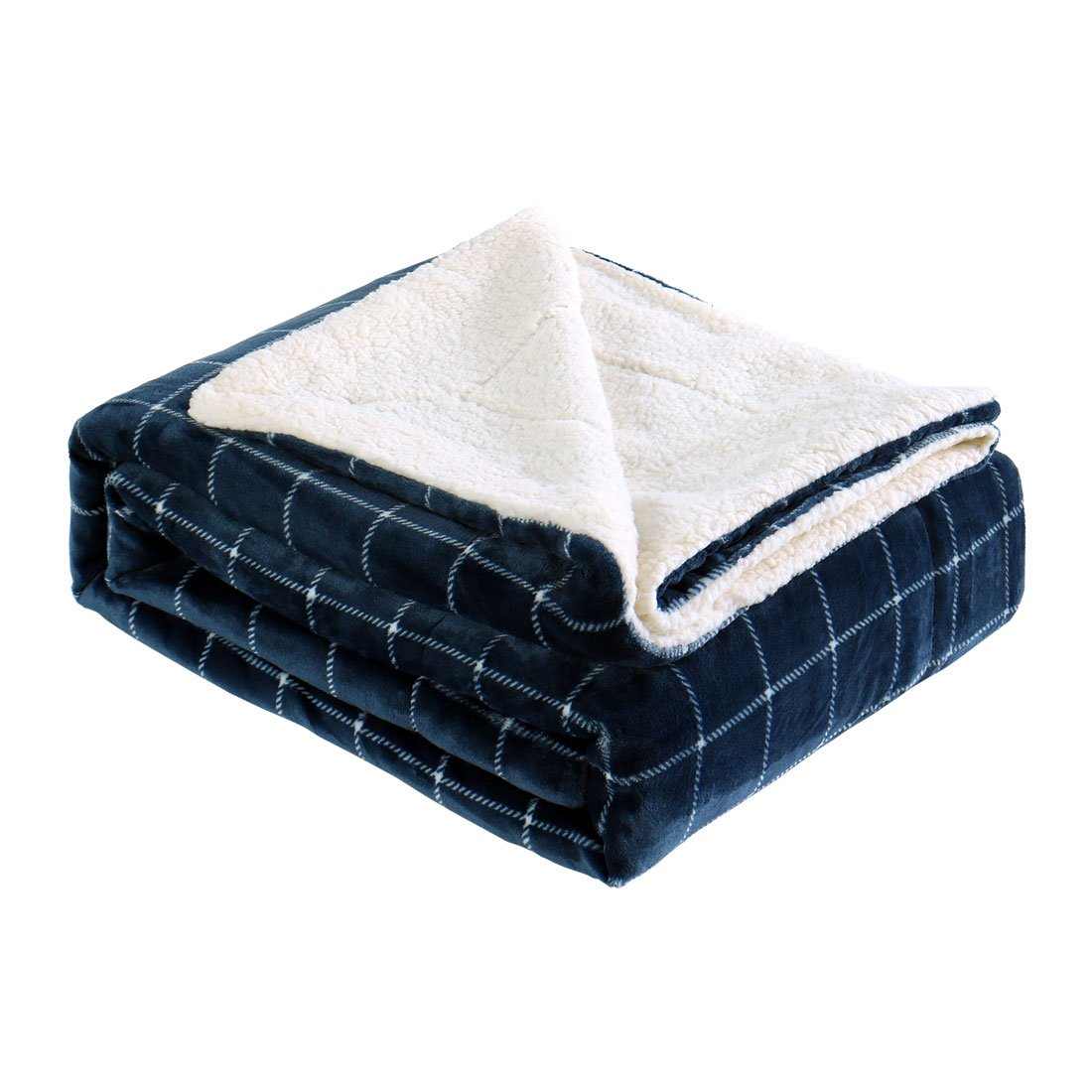 uxcell Flannel Fleece Reversible Blanket 520 GSM Super Soft Warm Plush Fuzzy Bedding Blankets for Bed Couch Anti-static Navy Blue Plaid Queen(78'' x 90'')